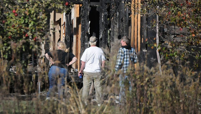 A home at 8351 Township Road 50, south of Steam Corners Road near Lexington, in Morrow County was destroyed by fire Tuesday morning. Jason J. Molyet/News Journal
