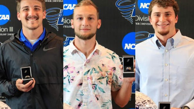 Brevard College football players (from left to right) Dalton Cole, Zach Allison and Jacob Burnette pose with their bowl rings earlier this week. All three are former West Henderson High standouts.