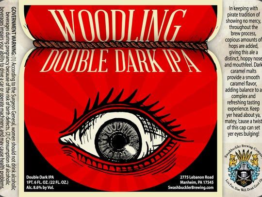The Woodling Double Dark IPA from Swashbuckler Brewing Co. channels a pirate vibe for its label.
