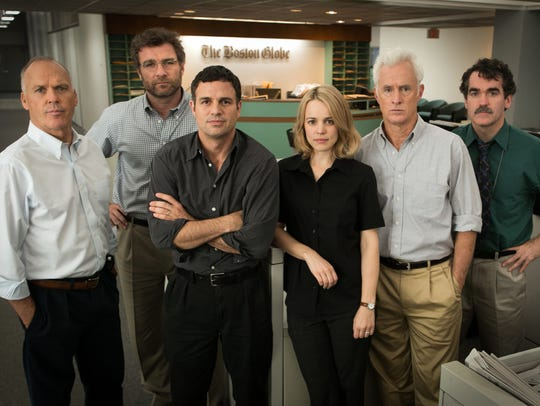 From left, Michael Keaton, Liev Schreiber, Mark Ruffalo,