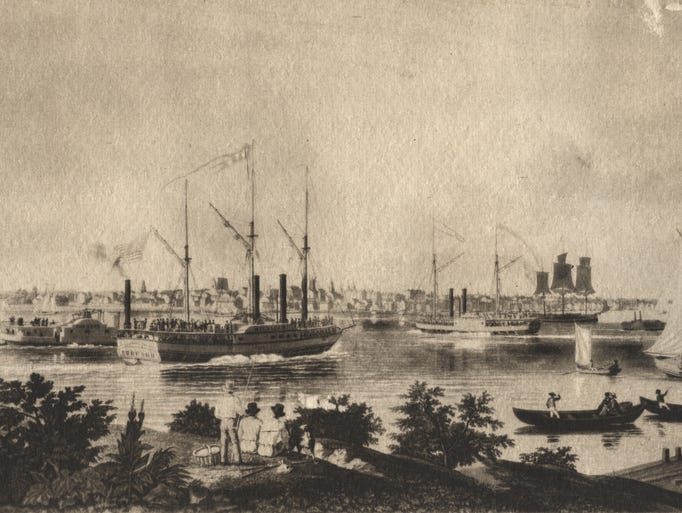 A busy Detroit riverfront is depicted in this 1838
