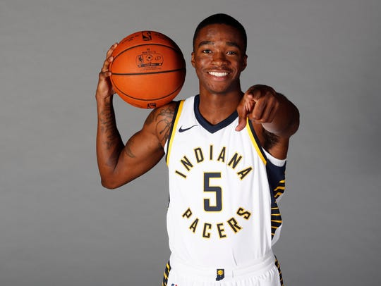 Indiana Pacers guard Edmond Sumner (5) poses for a