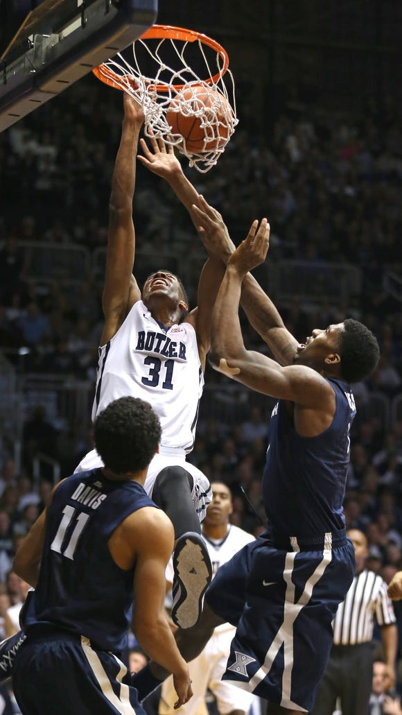 Butler's Kameron Woods dunks against Xavier in the second half at Hinkle Fieldhouse on Saturday Jan. 10, 2015. Butler won 88-76.