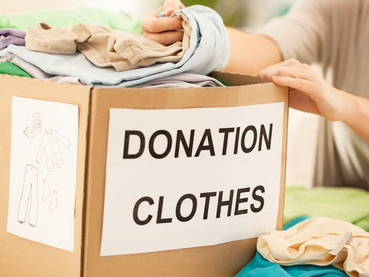 Box containing clothes for donation