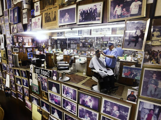 Nelson Malden cuts the hair of Mark Gorden at Malden Brothers Barber shop on South Jackson St. in Montgomery, Ala. on Tuesday April 14, 2015. Malden was Martin Luther King''s barber when King lived in Montgomery.