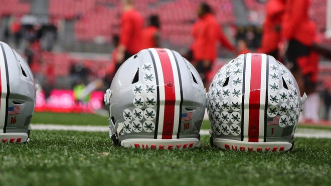 Oct 26, 2019; Columbus, OH, USA; Ohio State Buckeyes decals on the helmets before the game against the Wisconsin Badgers at Ohio Stadium. Mandatory Credit: Joe Maiorana-USA TODAY Sports