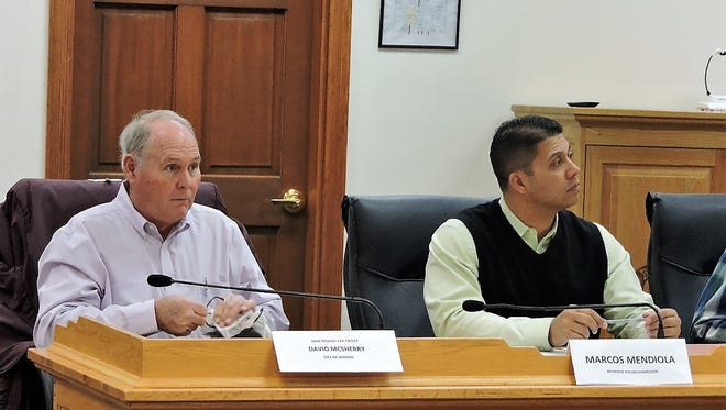 David McSherry of Deming and Marcos Mendiola of the Interstate Stream Commission during the March 5 meeting of the  New Mexico CAP Entity.
