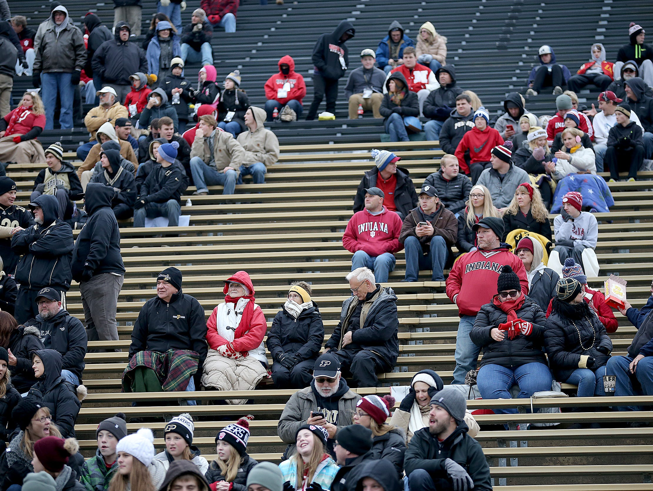Not many fans in the stands in the second half of Saturday's Old Oaken Bucket.