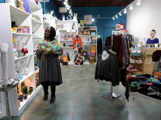 Rachael Woods at her Detroit ArtLoft store on Cass in Midtown. Woods has a carefully curated inventory of gift and home items for sell at ArtLoft,
