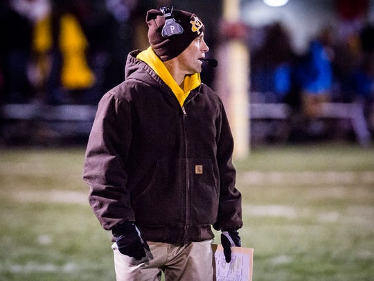 Monroe Central head coach John Hochstetler during the