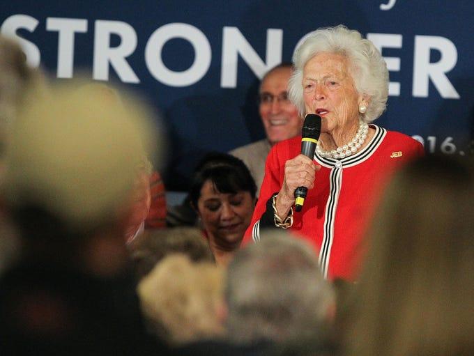Former first lady Barbara Bush speaks as her son, republican