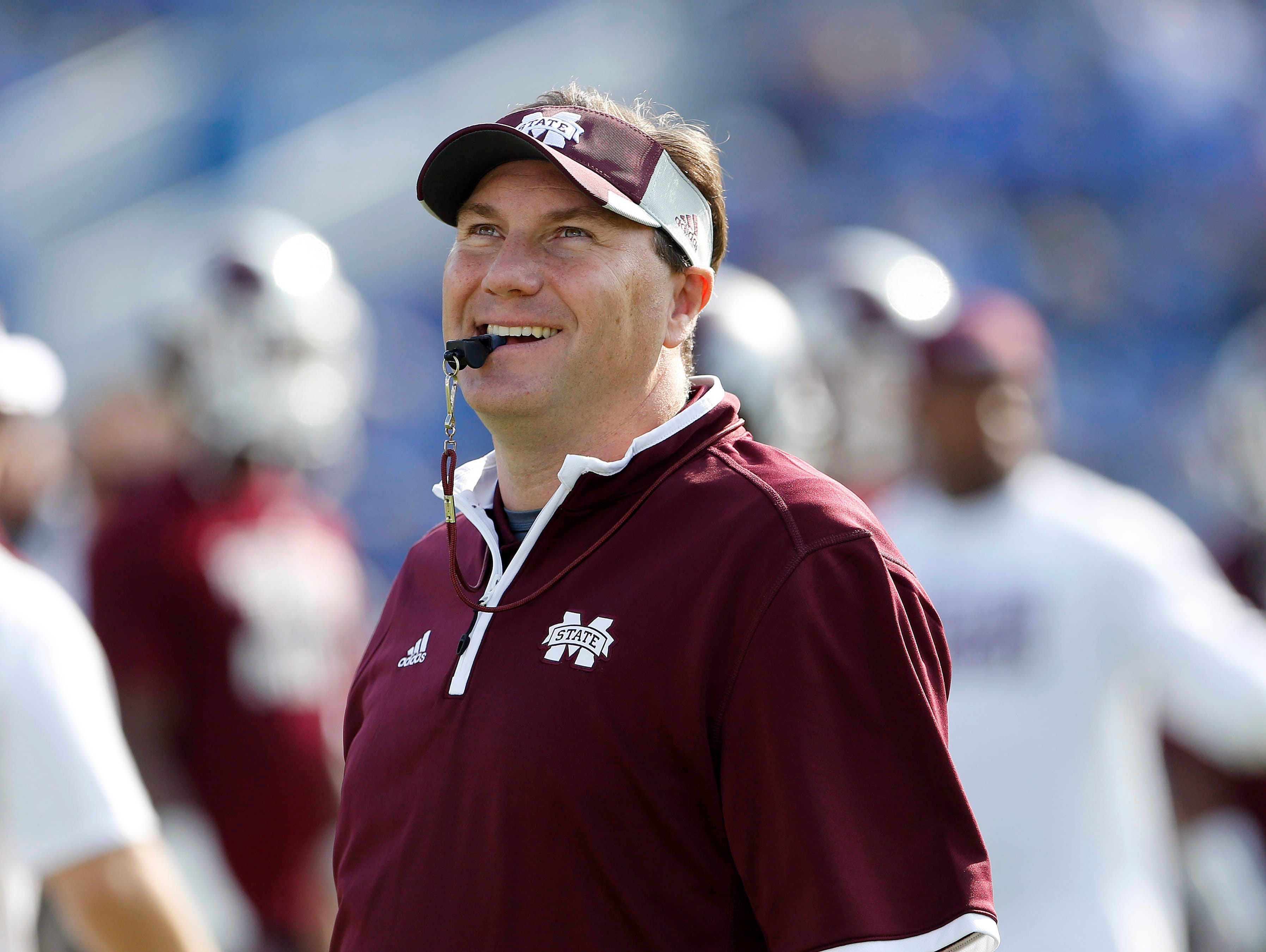 Oct 25, 2014; Lexington, KY, USA; Mississippi State Bulldogs head coach Dan Mullen before the game against the Kentucky Wildcats at Commonwealth Stadium. Mandatory Credit: Mark Zerof-USA TODAY Sports