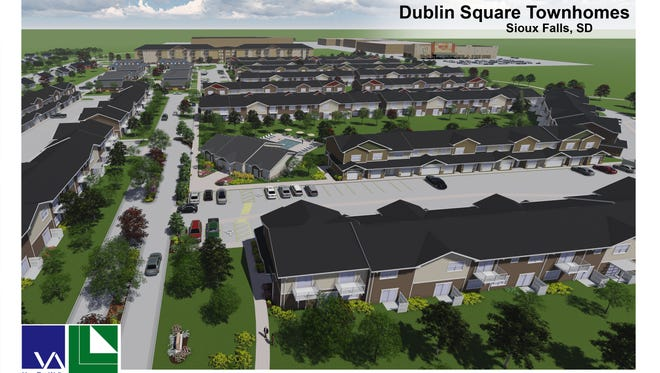 A rendering of the Dublin Square townhouses at Dawley Farm.