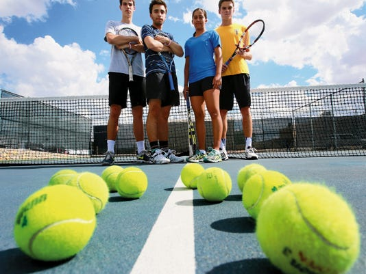 Coronado High School will feature four players competing next week at the Class 6A state tennis tournament. They are, left to right, doubles team Wilson Lambeth and Cameron Bilsbarrow and singles competitors Marjorie Antohi and Nathan Brown.