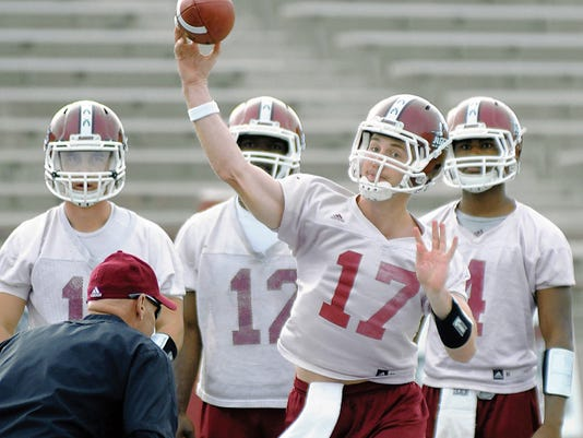 Robin Zielinski /Sun-News   New Mexico State University quarterback Tyler Rogers started 11 games for the Aggies last year. He's one of four quarterbacks competing for the starting job next season.