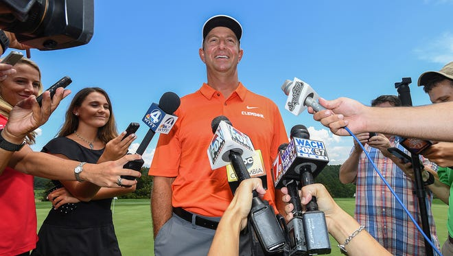Clemson head coach Dabo Swinney talks with the media during the annual Dabo Swinney Media Golf Outing on Tuesday, July 17, 2018 at The Reserve at Lake Keowee.