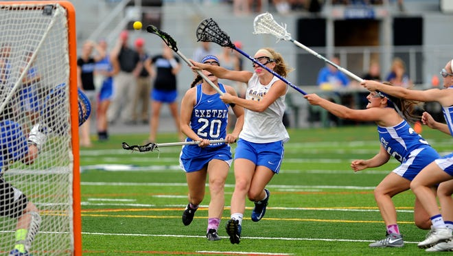 Kennard-Dale's Emmie Dressel shoots and scores against Exeter in the District 3 girls' lacrosse championship at Hersheypark Stadium on Thursday