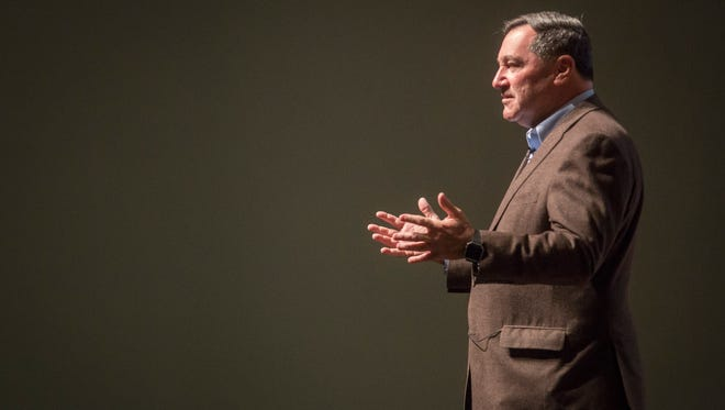 Joe Donnelly, an Indiana senator, talks with constituents at a town hall on March 19 at Emen's Auditorium in Muncie. Donnelly addressed concerns from people ranging from healthcare to senate nominations.