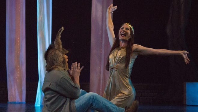 """Alan Ball as Bottom and Janet Haley as Titania in """"A Midsummer's Night Dream"""" — """"What angel wakes me from my flowery bed?"""""""
