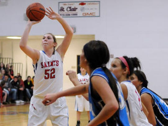 Rachel Kehoe attempts a free throw during her time at St. Clair High School