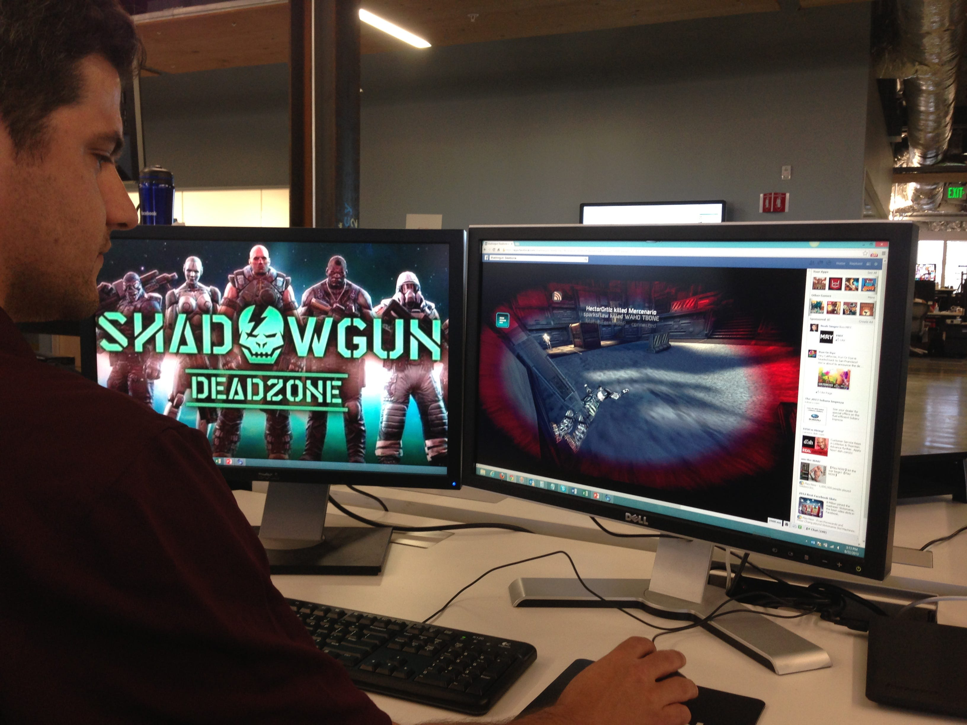 A Facebook games team member plays one of the games launching with use of the new software development kit for Unity.