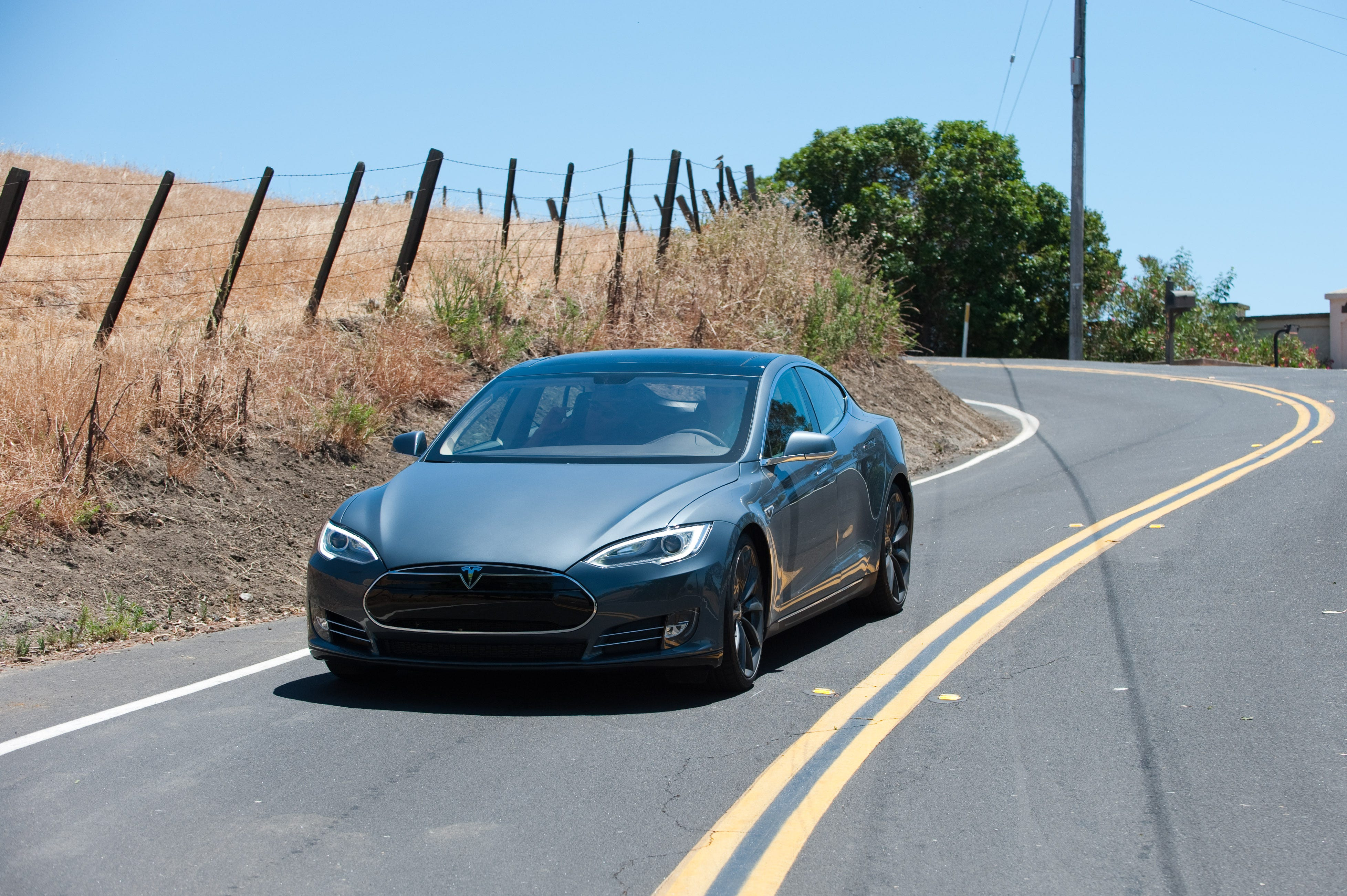 Tesla Model S out for a test drive in the hills above Fremont, Calif.