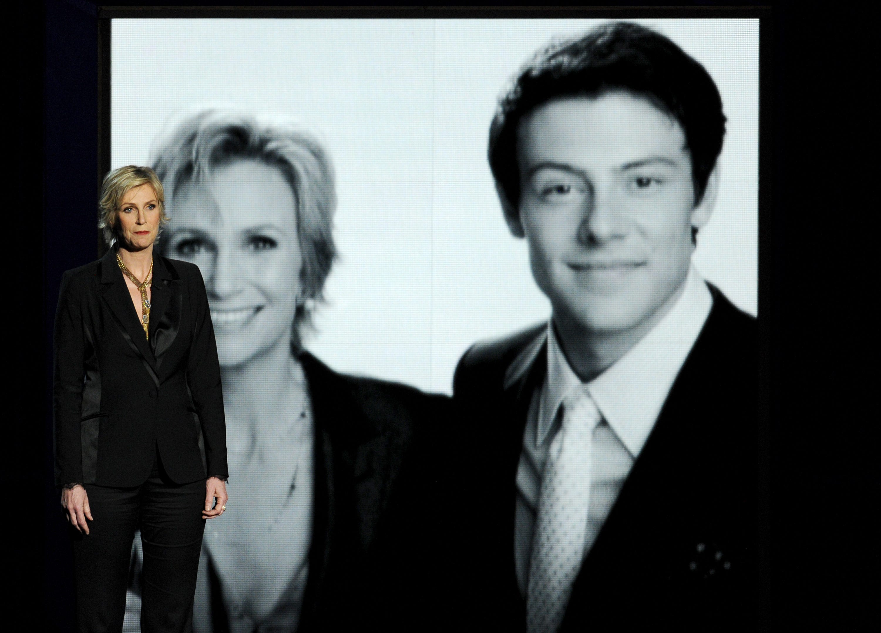 Actress Jane Lynch speaks onstage at Sunday's Emmys.