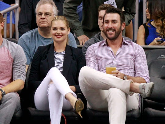 Kate Upton and Justin Verlander at an Orlando Magic