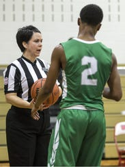 Annmarie Jones officiates Wall vs. Brick varsity boys