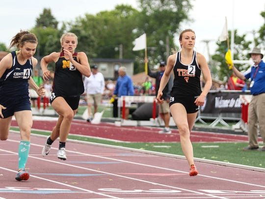 Jodi Lipp of St. Cloud Tech competes in the 100-meter dash prelims during the Class 2A track and field championships Friday, June 8, at Hamline University in St. Paul.
