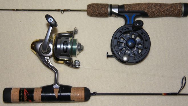 The new ice spooler reel design (top) is a new concept that helps eliminate line twist.