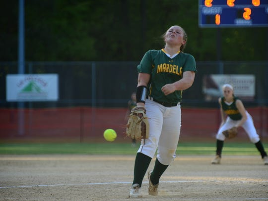 Mardela's Grace Barns pitched against St. Michaels on Tuesday, May 8, 2018 during the Bayside Championship at the Henry S. Parker field in Salisbury, Md.