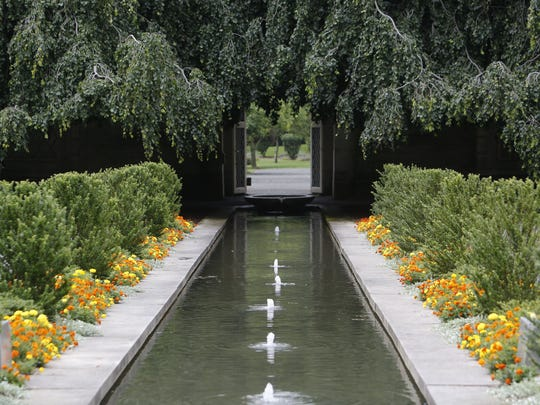 Plants blooming along the  water channels of the walled