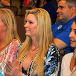 Stanny Park, Mrs. Miami,  Jackie Siegel, Queen of Versailles, and Robin Wright, Mrs. Orlando, pose for photos. Wright, Siegel and Park are on one team that will be riding in a custom limo. Promoters for Fireball Run Space Race held a press conference at the Cocoa Beach Hilton Thursday morning to promote the event which ends in Cocoa Beach this year. With 60 teams competing, the race starts in Hartford, CT on Sept. 25th and ends in Cocoa Beach October 3rd.