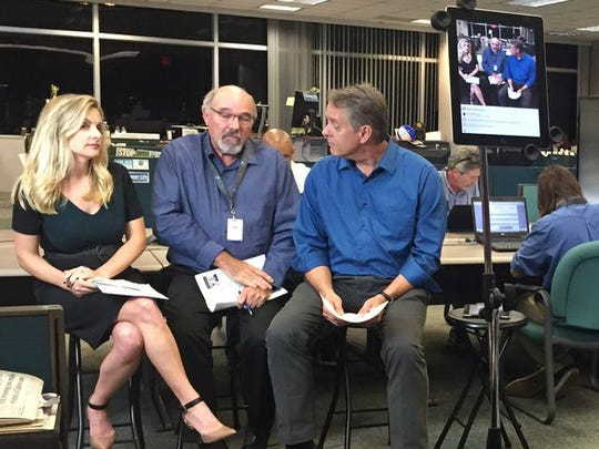 Columnists (from left) Eve Samples, Anthony Westbury and Gil Smart talk about election results during a Facebook Live video Tuesday, Nov. 8, 2016, in the TCPalm newsroom in Stuart.