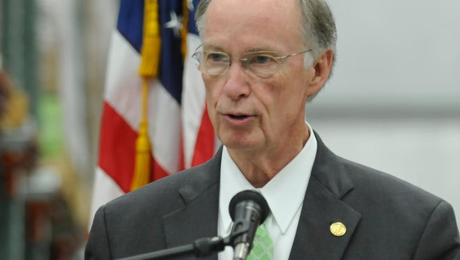Robert Bentley, Alabama Governor, talks as the Montgomery Area Food Bank officially opens the Hugh K. Rule Jr. Building and Harry and Jeanette Weinberg Volunteer Service Center at their location on Trade Center Street in Montgomery, Ala., on Thursday, Aug. 28, 2014.