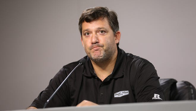 NASCAR Sprint Cup Series driver Tony Stewart during a press conference at Atlanta Motor Speedway.