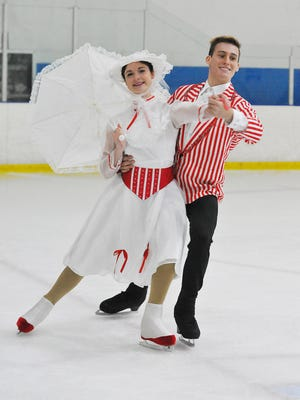 """Carrigan Benoit of Cocoa plays Mary Poppins, and TJ Nyman of Viera is Burt in """"Mary Poppins,"""" presented by the Space Coast IcePlex in Rockledge."""