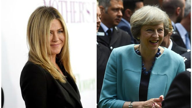 Jennifer Aniston (left) and Theresa May (right), although an ocean apart, have both drawn criticism based on their no-children status.