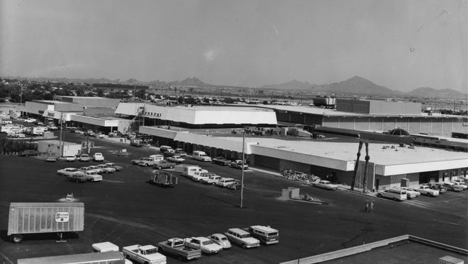 A view of Switzer's, J.C, Penney's and the parking lot at Tri-City Mall from July 22, 1968, the year the mall opened. Run Date: 7/23/68 G