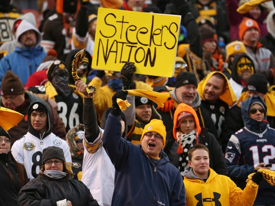 Pittsburgh Steelers fans celebrate late in the second