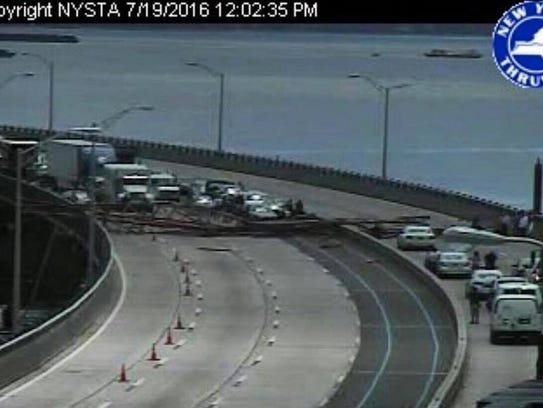 A crane collapsed onto the Tappan Zee Bridge and shut