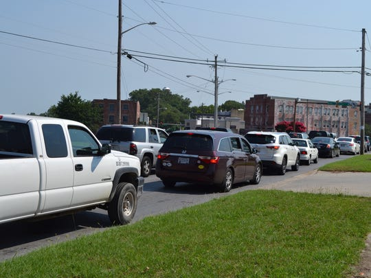 Traffic backs up at the end of Riverside Drive in Salisbury