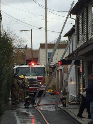Fire crews respond to a fire at 538 Arnold St., Lebanon, Sunday morning.