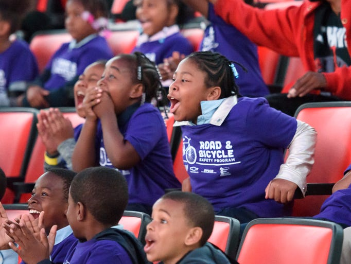 Students from Dossin Elementary-Middle School in Detroit