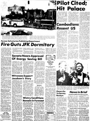 The Herald Times Reporter front page after a fire gutted the JFK Prep dormitory
