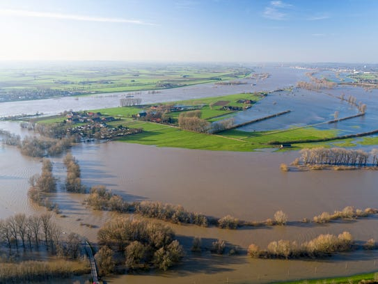 Flood water inundated the German village of Rees on