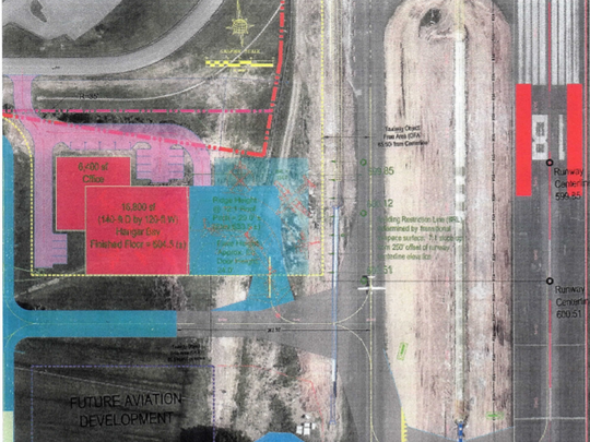 This rendering explains plans for a $2.5 million TDK Hangar at Murfreesboro Airport.