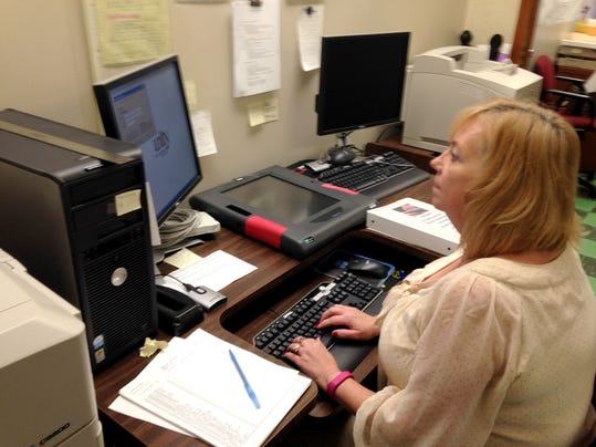 Lebanon County Director of Elections Lori Oliver looks over voter regsitraton datae in this photo taken before November's election.
