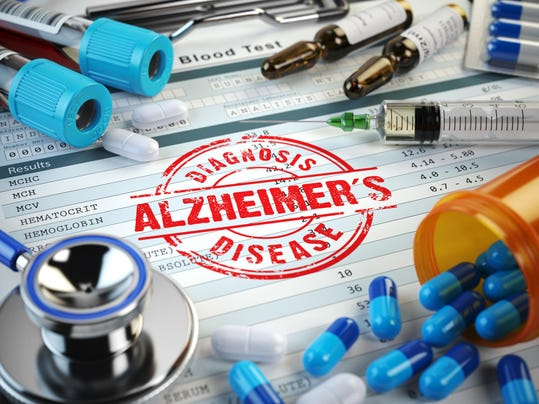 Alzheimers disease diagnosis. Stamp, stethoscope, syringe, blood